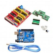 Комплект разширителна платка v3 + 4бр A4988 driver + Ардуино UNO R3 и кабел